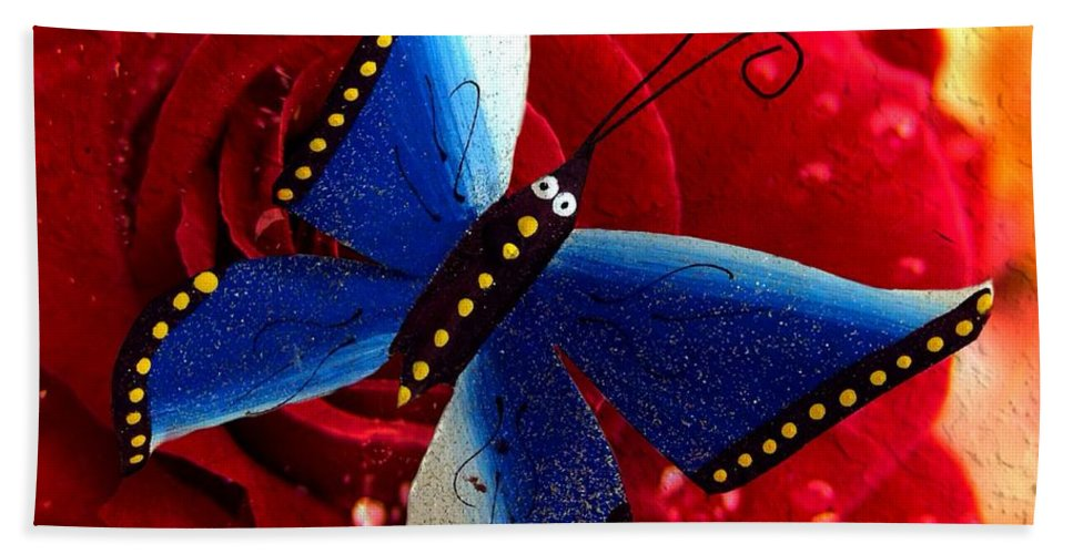 Butterfly Beach Towel featuring the photograph Magic On The Wall by Carlos Avila