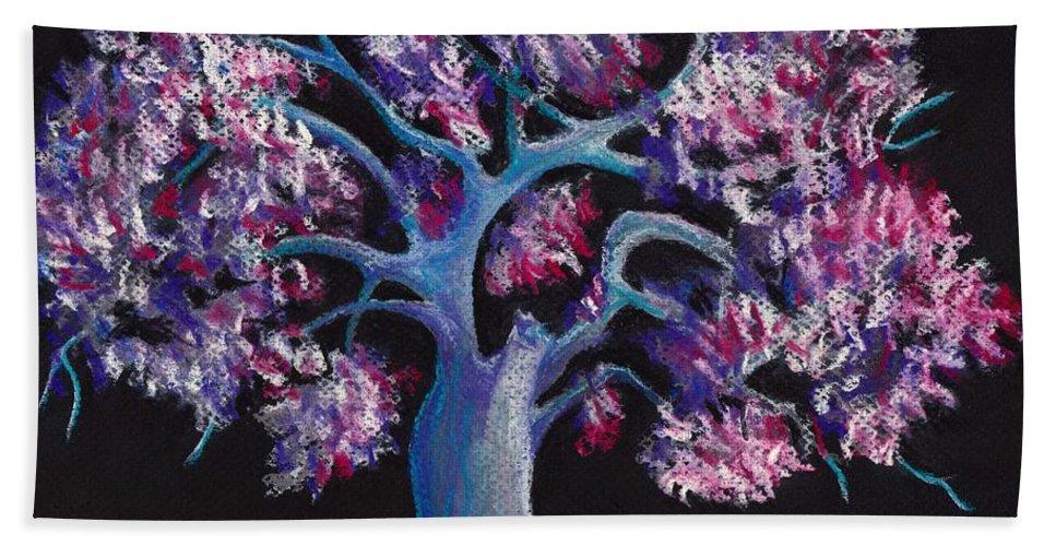 Malakhova Beach Towel featuring the drawing Magic Tree by Anastasiya Malakhova
