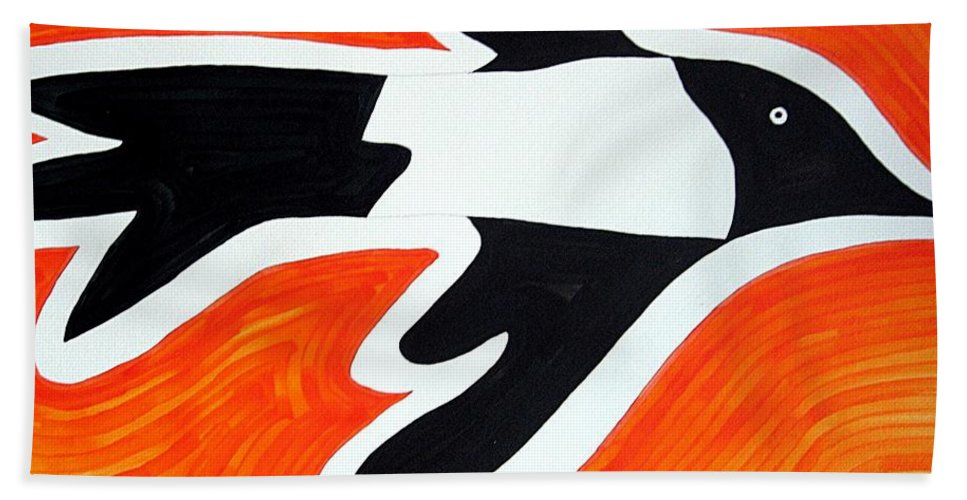 Magpie Beach Towel featuring the painting Magpie Original Painting Sold by Sol Luckman