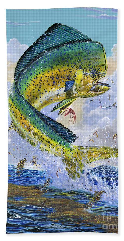 Dolphin Beach Towel featuring the painting Mahi Hookup Off0020 by Carey Chen