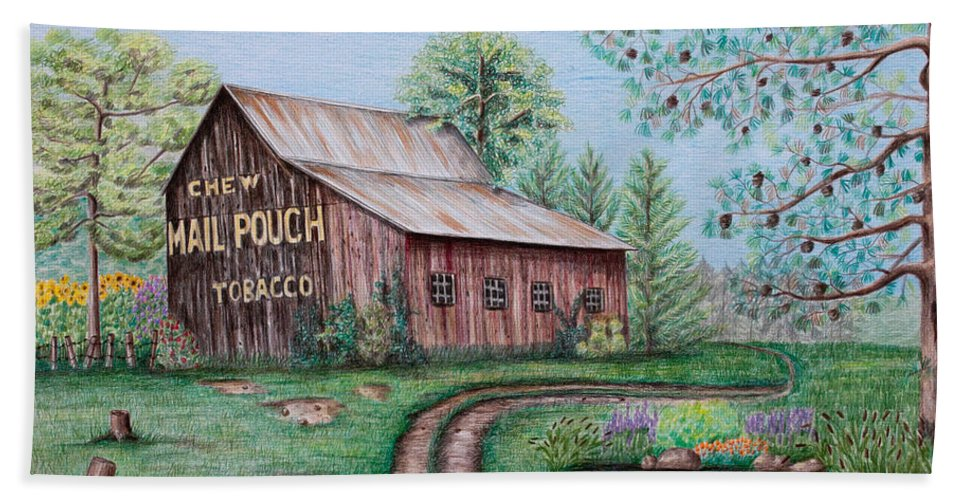 Mail Pouch Beach Towel featuring the drawing Mail Pouch Tobacco Barn by Lena Auxier