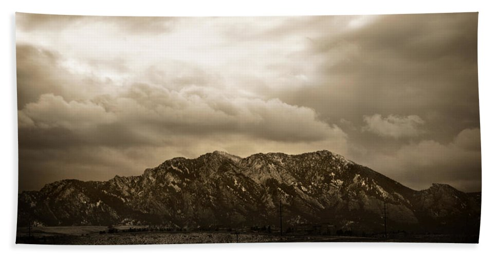 Majestic Beach Towel featuring the photograph Majestic Flatirons by Marilyn Hunt