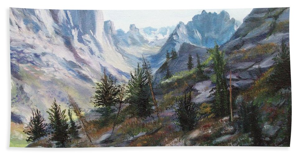 Landscape Beach Towel featuring the painting Majestic Montana by Patti Gordon