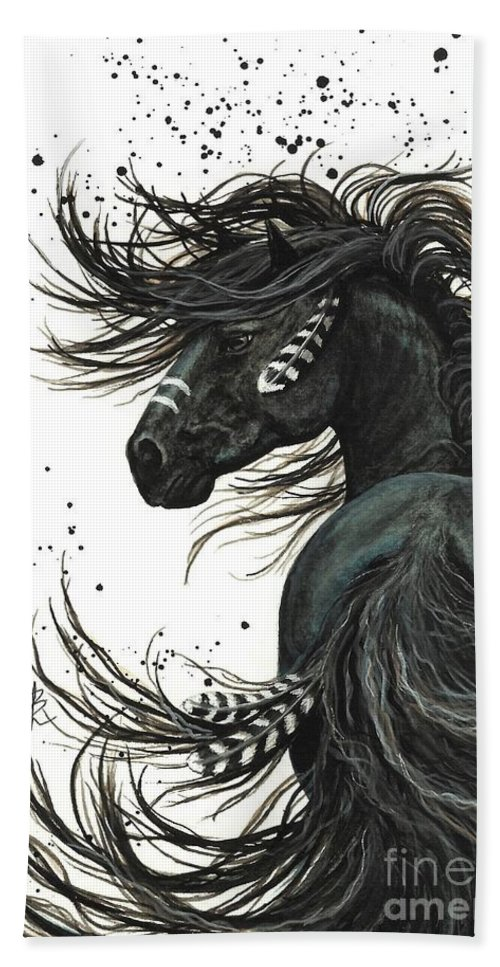 Mm65 Beach Towel featuring the painting Majestic Spirit Horse I by AmyLyn Bihrle