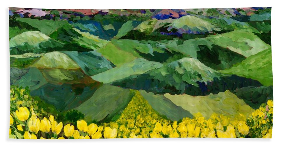 Landscape Beach Towel featuring the painting Majestic Parade by Allan P Friedlander