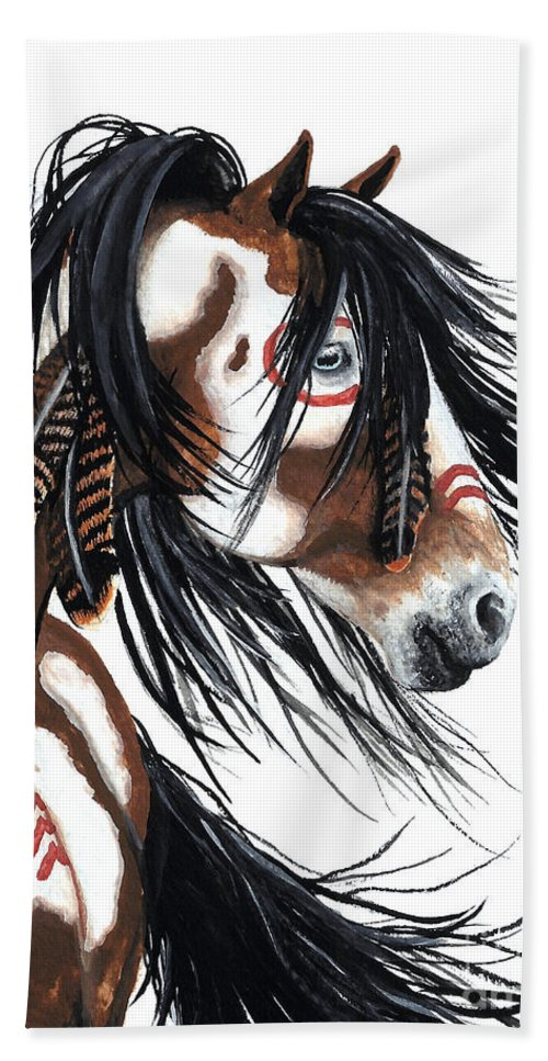 Horse Artwork Beach Towel featuring the painting Majestic Pinto horse by AmyLyn Bihrle