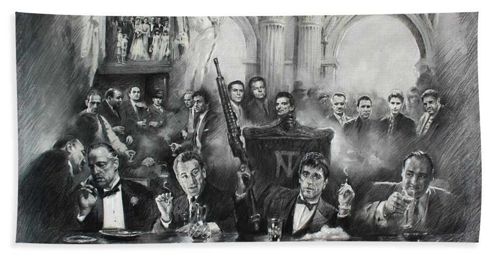 Gangsters Beach Towel featuring the drawing Make Way For The Bad Guys by Ylli Haruni