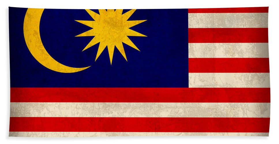 Malaysia Beach Towel featuring the mixed media Malaysia Flag Vintage Distressed Finish by Design Turnpike