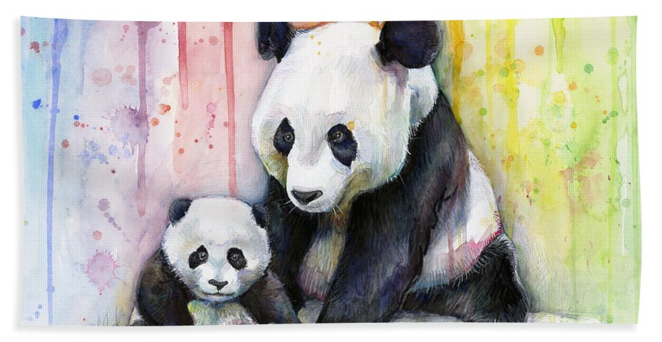 Watercolor Beach Towel featuring the painting Panda Watercolor Mom And Baby by Olga Shvartsur