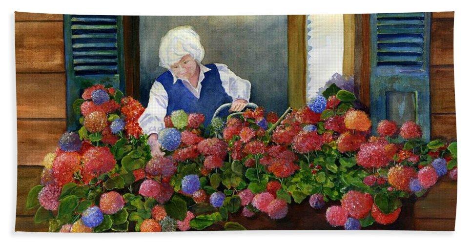 Window Beach Towel featuring the painting Mama's Window Garden by Jane Ricker