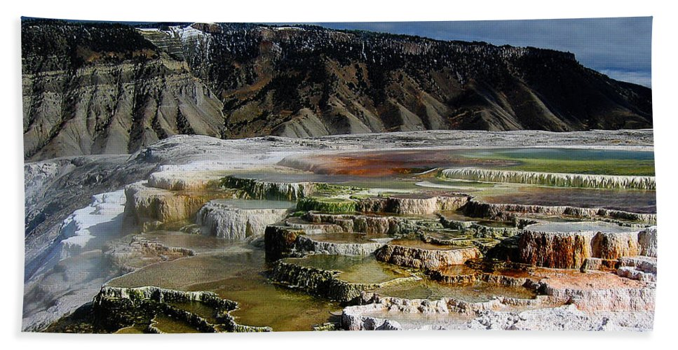 Mammoth Hot Springs Beach Towel featuring the pyrography Mammoth Hot Springs by Robert Woodward
