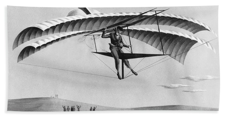 1035-635 Beach Towel featuring the photograph Man Gliding In 1883 by Underwood Archives
