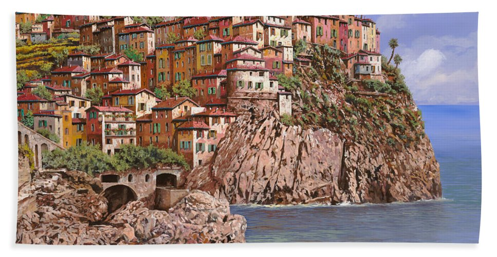 Seascape Beach Towel featuring the painting Manarola  by Guido Borelli