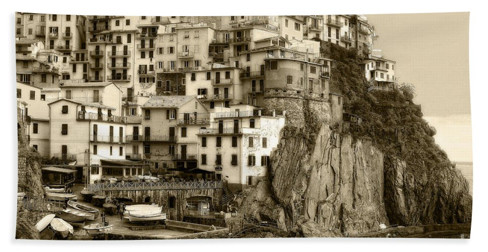 Italy Beach Towel featuring the photograph Manarola Italy Sepia by Timothy Hacker