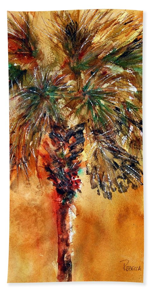 Palm Beach Towel featuring the painting Manasota Key Palm 1 by Rebecca Zdybel