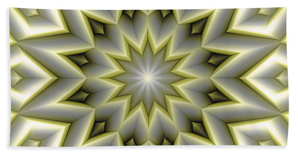 Tibetan Art Beach Towel featuring the digital art Mandala 107 Yellow by Terry Reynoldson