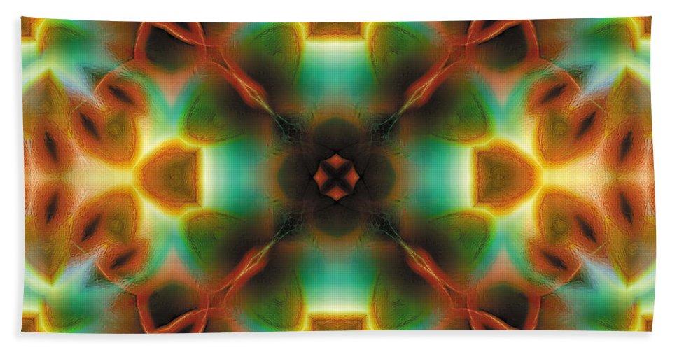 Abstract Beach Towel featuring the digital art Mandala 133 by Terry Reynoldson