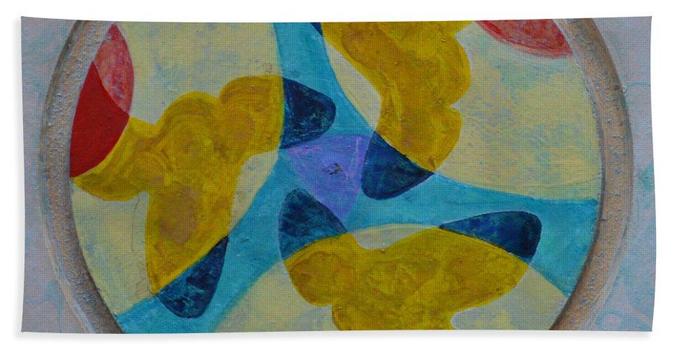 Mandala Round Circle White Blue Yellow Red Thirds Abstract Outsider Modern Raw Folk Beach Towel featuring the painting Mandala 4 by Nancy Mauerman