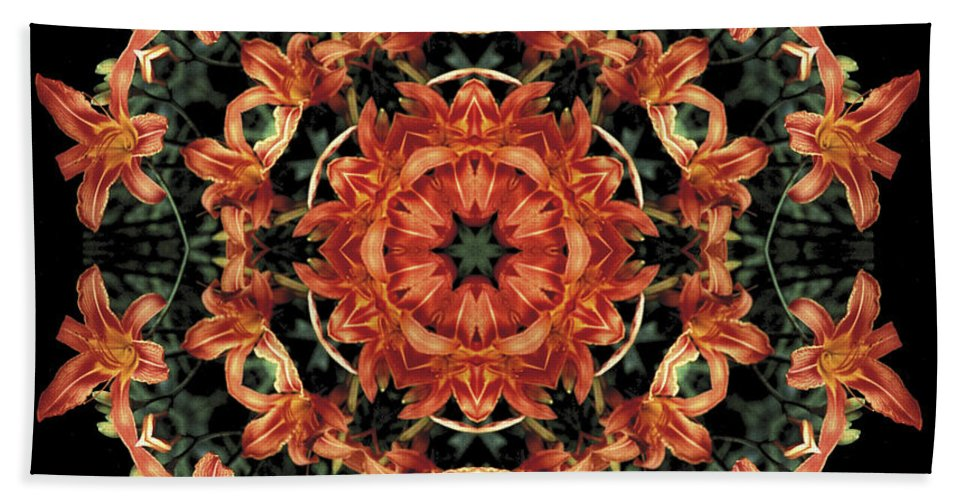 Mandala Beach Towel featuring the photograph Mandala Daylily by Nancy Griswold