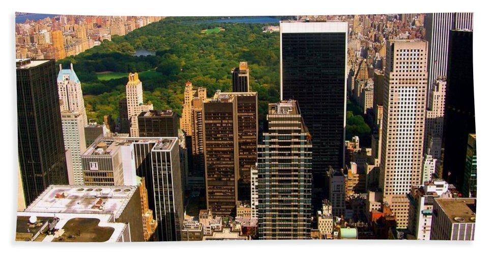 Manhattan Prints Beach Towel featuring the photograph Manhattan And Central Park by Monique's Fine Art