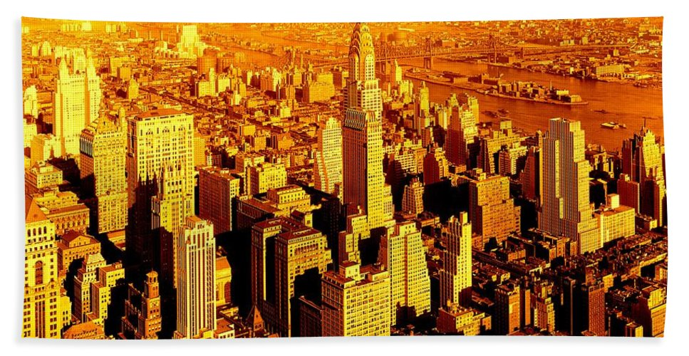 Fine Art America Beach Towel featuring the photograph Manhattan And Chrysler Building by Monique's Fine Art