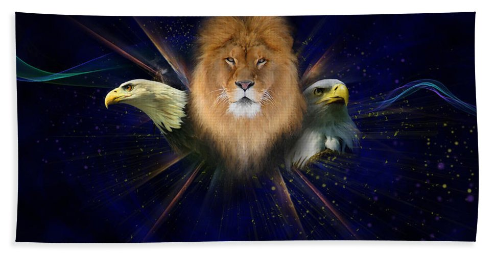 Lion Beach Towel featuring the painting Manifold Presence by Tamer and Cindy Elsharouni