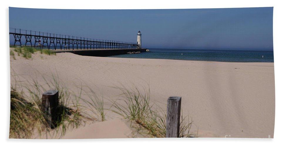 Lighthouse Beach Towel featuring the photograph Manistee Harbor Lighthouse From Beach by Ronald Grogan