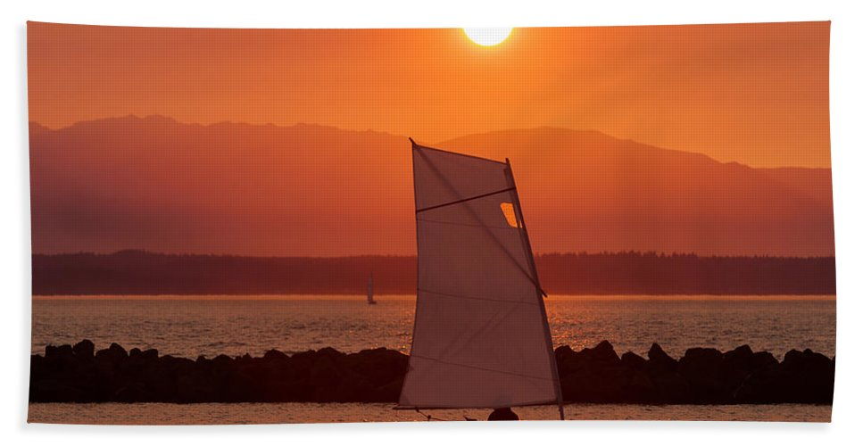 Sunset Beach Towel featuring the photograph Mans Best Friend by Scott Campbell