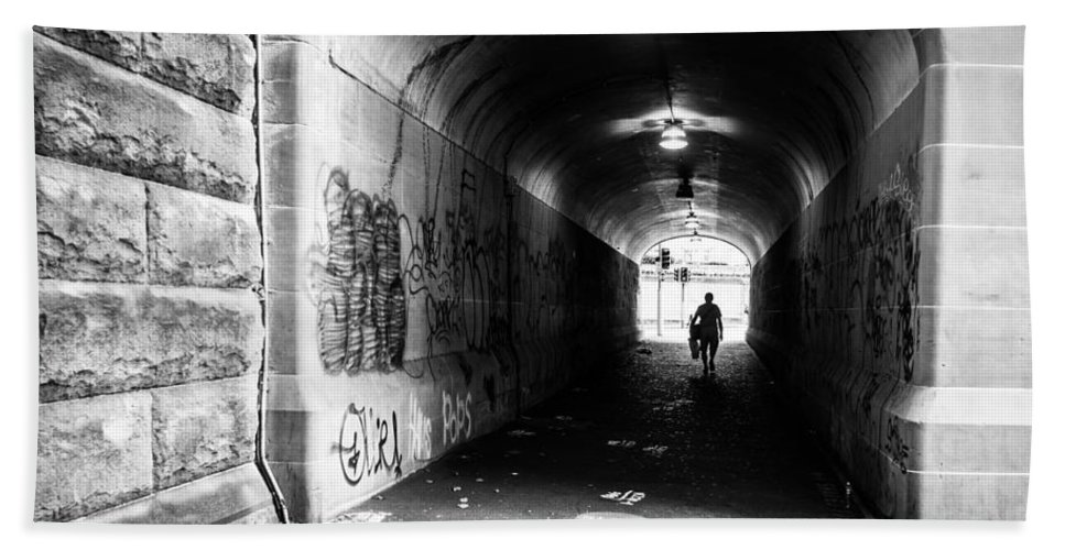 Tunnel Beach Towel featuring the photograph Man's Silhouette In Urban Tunnel Black And White by Kaleidoscopik Photography