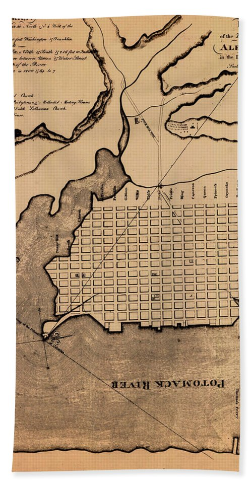 Alexandria Beach Towel featuring the photograph Map Of Alexandria 1798 by Andrew Fare