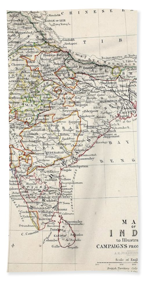 Map Beach Towel featuring the drawing Map Of India by Alexander Keith Johnson