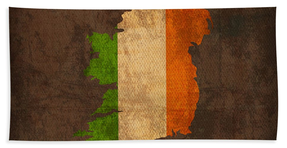 Map Of Ireland With Flag Art On Distressed Worn Canvas Beach Towel featuring the mixed media Map Of Ireland With Flag Art On Distressed Worn Canvas by Design Turnpike