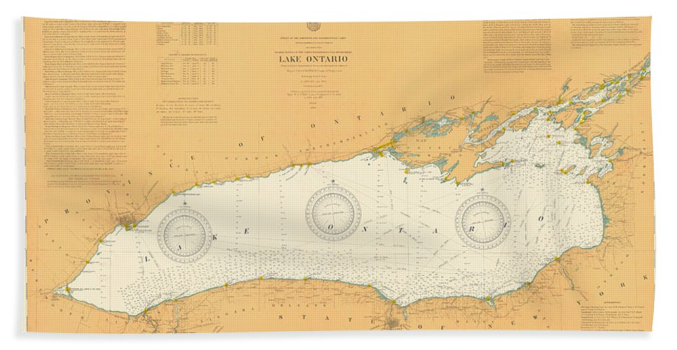 Map Of Lake Ontario Beach Towel featuring the photograph Map Of Lake Ontario 1904 by Andrew Fare