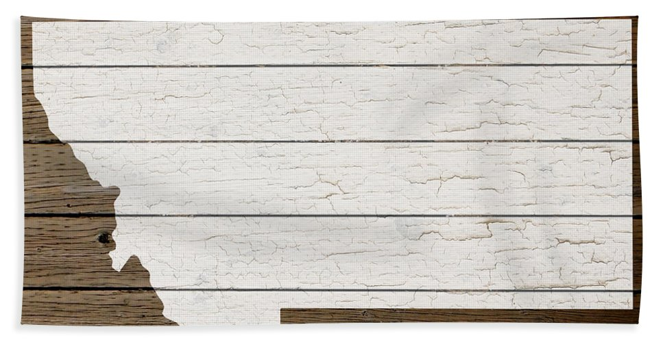 Map Of Montana State Outline White Distressed Paint On Reclaimed ...