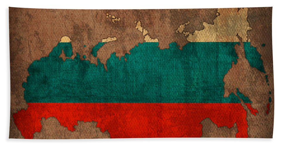 Map Of Russia With Flag Art On Distressed Worn Canvas Beach Towel featuring the mixed media Map Of Russia With Flag Art On Distressed Worn Canvas by Design Turnpike