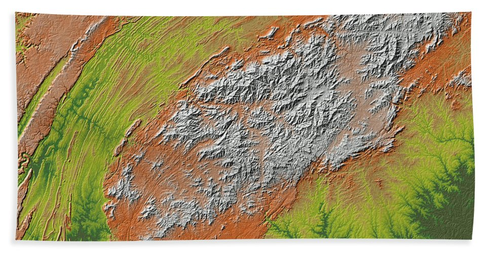 Appalachians Beach Towel featuring the digital art Map Of Southern Appalachia by Duane McCullough