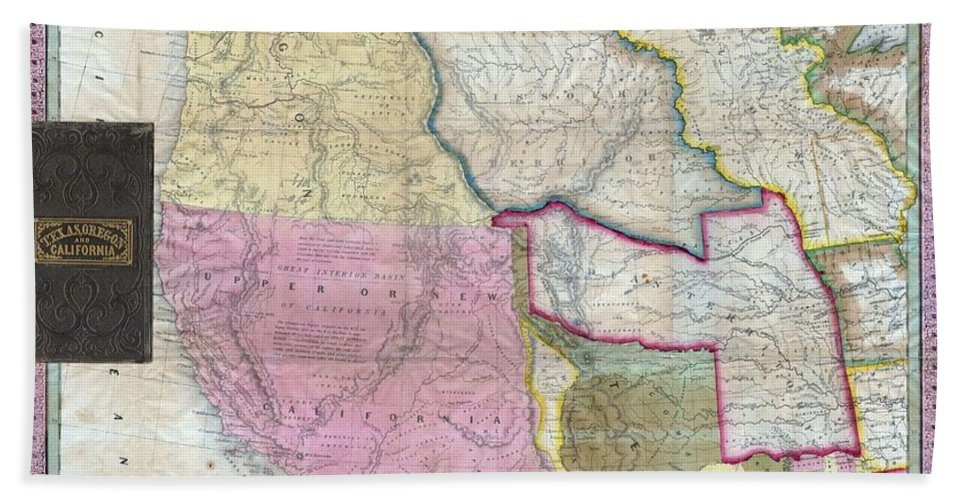 : A Stunning Example Of Mitchell's Seminal 1846 Pocket Map Of Texas Beach Towel featuring the photograph Map Of Texas Oregon And California by Paul Fearn