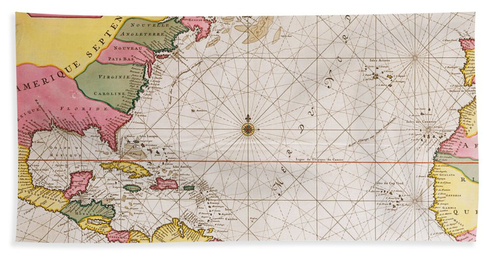 Map Of The Atlantic Ocean Showing The East Coast Of North America The  Caribbean And Central America Beach Towel