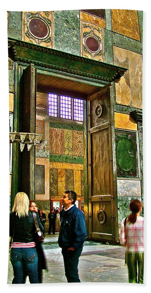 Marble Of Many Colors In Istanbul Beach Towel featuring the photograph Marble Of Many Colors In Saint Sophia's In Istanbul-turkey by Ruth Hager