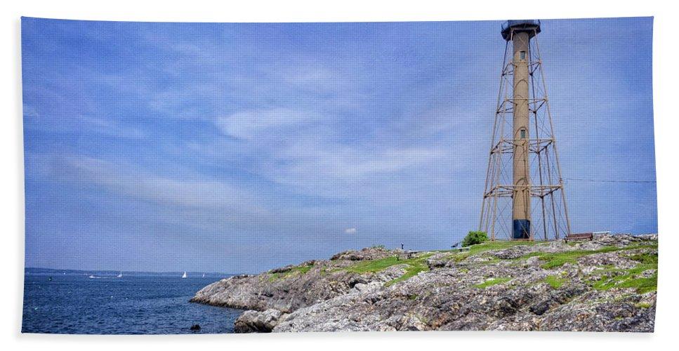 Rocks Beach Towel featuring the photograph Marblehead Light by Joan Carroll