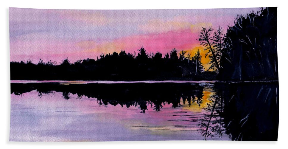 Watercolor Beach Towel featuring the painting March Sunset In Maine by Brenda Owen