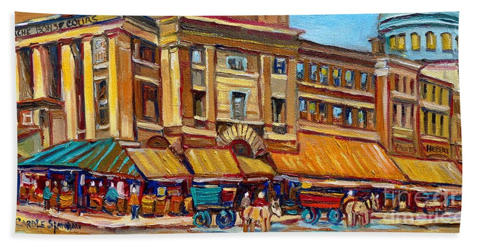 Montreal Art Beach Towel featuring the painting Marche Bonsecours Old Montreal by Carole Spandau