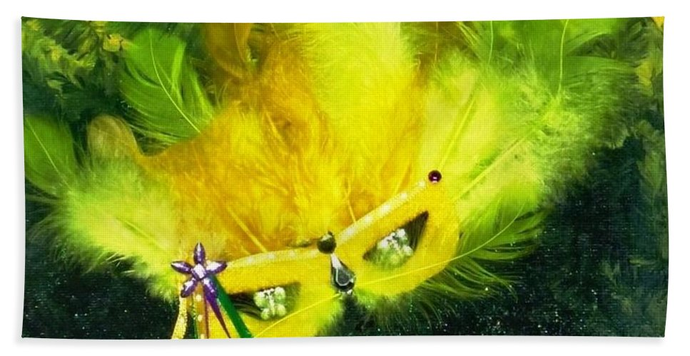 Mixed Media Beach Towel featuring the painting Mardi Gras On Green by Alys Caviness-Gober