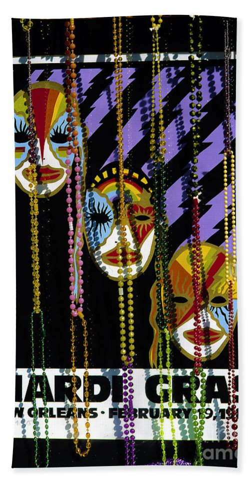 Poster Beach Towel featuring the photograph Mardi Gras Poster New Orleans by Mike Nellums