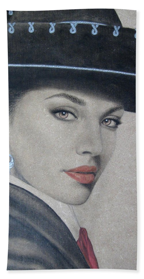 Mariachi Beach Towel featuring the painting Mariachi by Lynet McDonald
