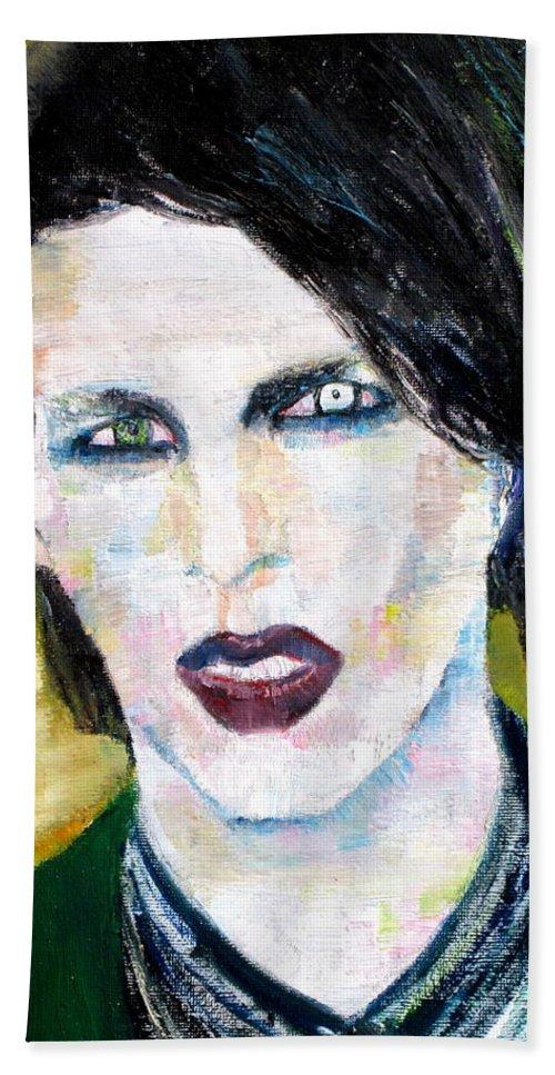 Marilyn Manson Beach Towel featuring the painting Marilyn Manson Oil Portrait by Fabrizio Cassetta