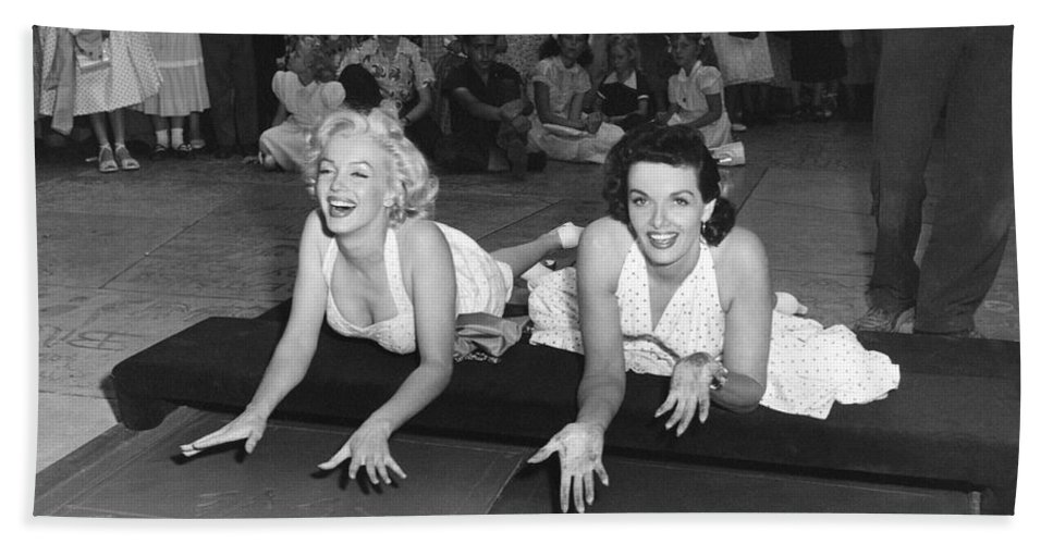 1950's Beach Towel featuring the photograph Marilyn Monroe And Jane Russell by Underwood Archives