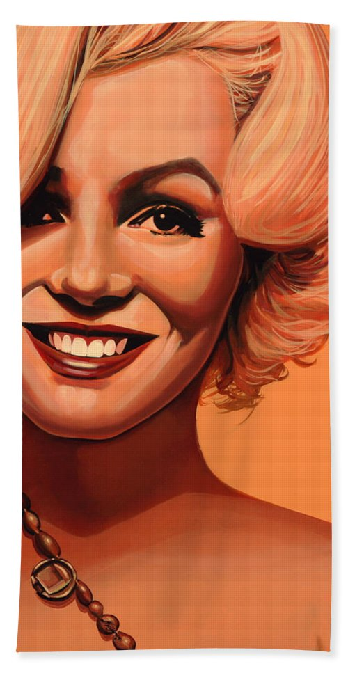 Marilyn Monroe Beach Towel featuring the painting Marilyn Monroe 5 by Paul Meijering