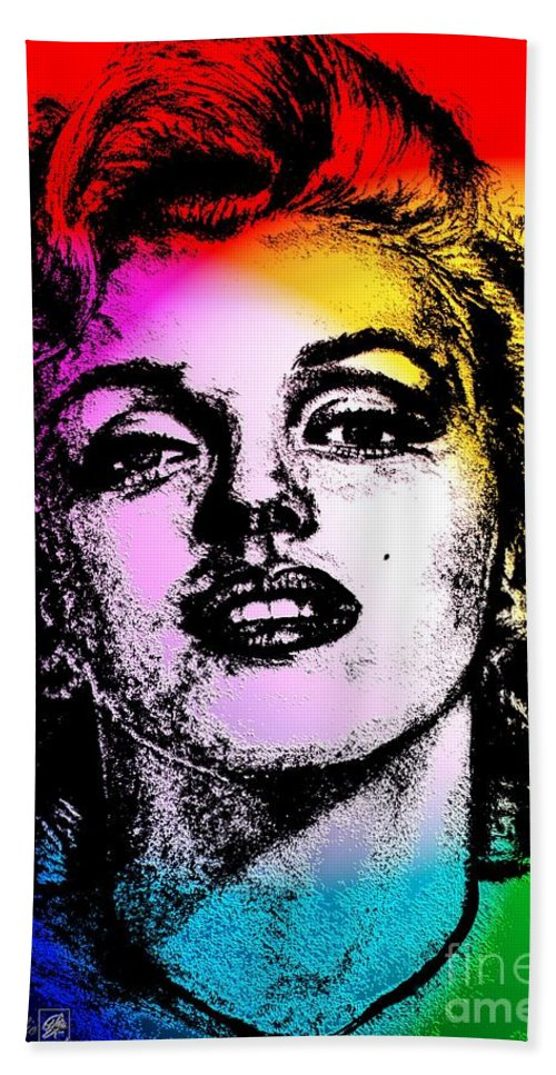 Marilyn Beach Towel featuring the digital art Marilyn Monroe Under Spotlights by J McCombie