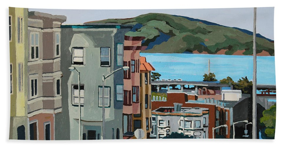 San Francisco Beach Towel featuring the painting Marin by Melinda Patrick